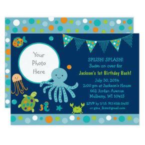 Blue Under the Sea Birthday Invitation