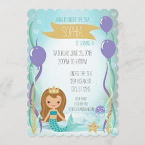 Blue Underwater Mermaid Princess Brown Invitation