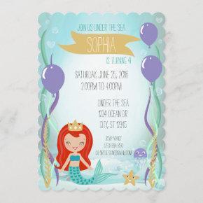 Blue Underwater Mermaid Princess Party Light Red Invitation