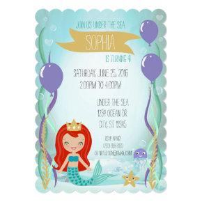 Blue Underwater Mermaid Princess Party Light Red Invitation