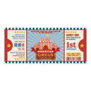 Blue Vintage Circus Ticket Entrance First Birthday Invitation