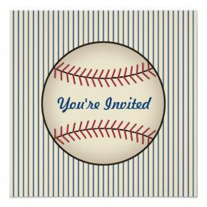 Blue Vintage Sports Baseball Birthday Invitations