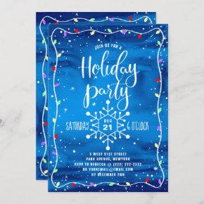 Blue Watercolor Festive Holiday Party Christmas Invitation