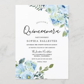 Blue Watercolor Flowers Beautiful Quinceanera Invitation