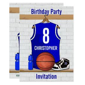Blue White Basketball Jersey Birthday Party Invitations