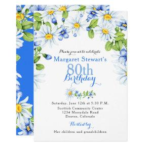 Blue White Country Daisy 80th Birthday Invite