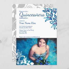 Blue & White Floral Quinceañera Photo Invitation