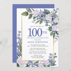 Blue White Gold Floral 100th Birthday Invitation