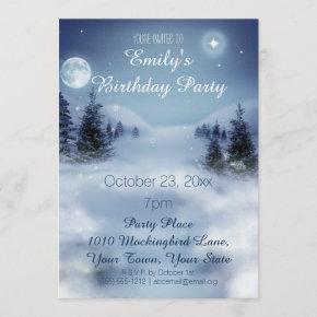 Blue & White Ice Winter Wonderland Birthday Party Invitation