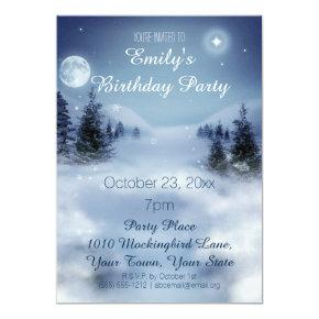 Blue & White Ice Winter Wonderland Birthday Party Invitation