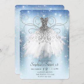 Blue White Silver Princess Dress Sweet 16 Party Invitation