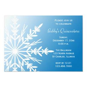 Blue White Snowflake Winter Quinceañera Invitation