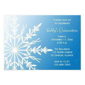 Blue White Snowflake Winter Quinceañera Invitation