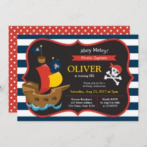 Blue White Stripes Pirate Ship Birthday Invitation