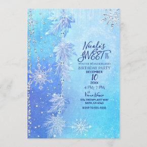 Blue Winter Leaves & Snowflakes Sweet 16 Party Invitation