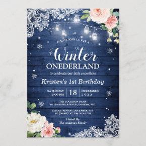 Blue Winter Onederland Floral Baby First Birthday Invitation