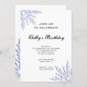 Blue Winter Snowflake Birthday Party Invitation