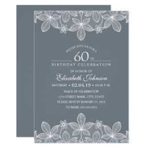 Bluish Grey 60th Birthday Party Creative Lace Card