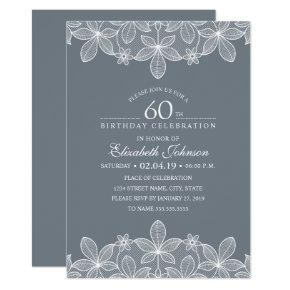 Bluish Grey 60th Birthday Party Creative Lace Invitations