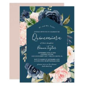 Blush and Navy Flowers | Blue Quinceañera Invitation