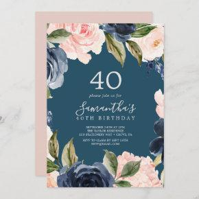 Blush and Navy Flowers Blue Wreath 40th Birthday Invitation