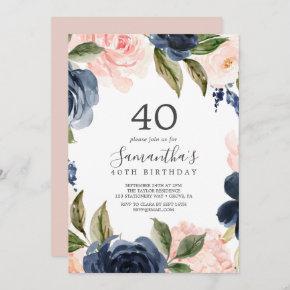 Blush and Navy Flowers White Wreath 40th Birthday Invitation