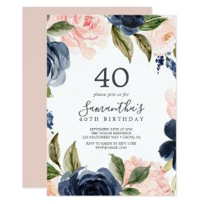 Blush and Navy Flowers White Wreath 40th Birthday Invitation