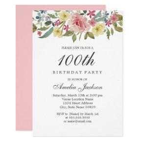 Blush Botanical Watercolor 100th Birthday Party Invitation