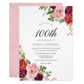 Blush & Burgundy 100th Birthday Party Invite