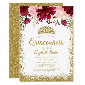 Blush Burgundy Floral Gold Tiara Quinceanera Invitation