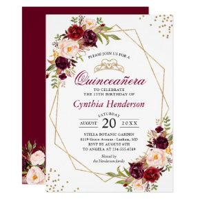 Blush Burgundy Floral Quinceañera 15th Birthday Invitation