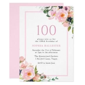 Blush Dreams Floral Womans 100th Birthday Party Invitation