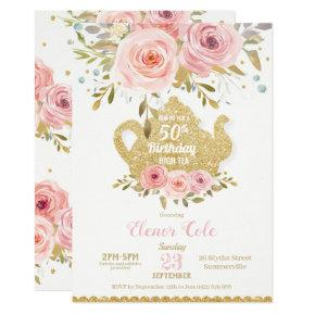 Blush Floral 50th Birthday High Tea Party ANY AGE Invitation