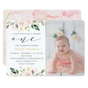 Blush Floral Greenery Girl 1st Birthday Photo Invitation