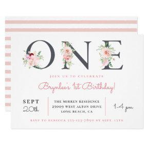 Blush Floral ONE | 1st Birthday Invitation