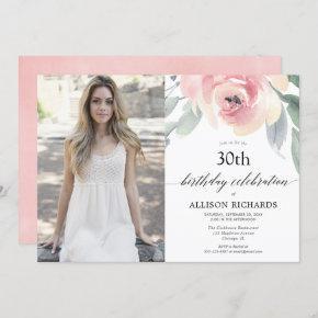 Blush floral watercolor women adult birthday photo invitation