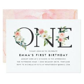 Blush Florals | 1st Birthday Party Invitation