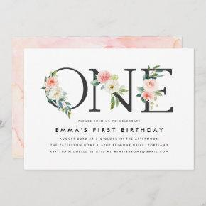 Blush Florals | 1st Birthday Party Invitation