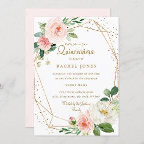 Blush Gold Floral Geometric Quinceanera Invitation