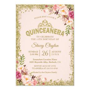 Blush Gold Pink Floral Quinceanera 15th Birthday Invitations