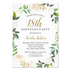 Blush Gold Watercolor Wreath 18th Birthday Invitation