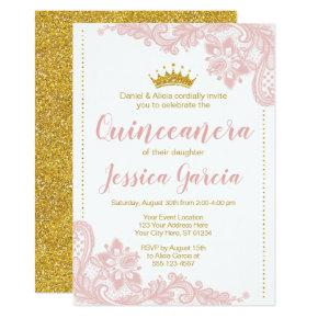 Blush Lace and Glitter Gold Princess Quinceañera Invitation