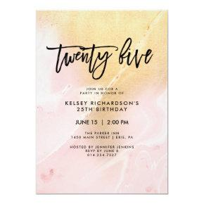 Blush Pink and Gold Marble | 25th Birthday Party Invitations