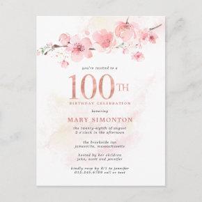 Blush Pink Floral 100th Birthday Invitation Post