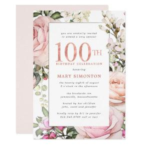 Blush Pink Floral 100th Birthday Party Invitation