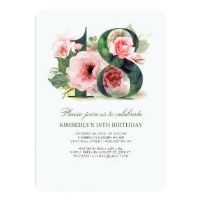 Blush Pink Floral 18th Birthday Party Invitation