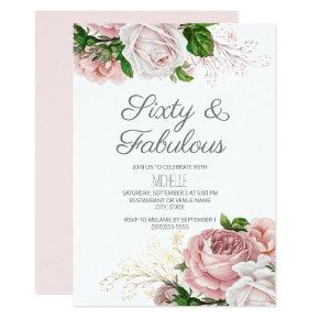 Blush Pink Floral 60 and Fabulous Birthday Invitation