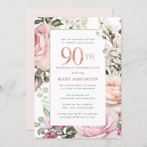 Blush Pink Floral 90th Birthday Party Invitation