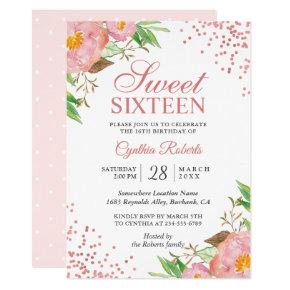Blush Pink Floral Confetti Sweet 16 Birthday Party Card