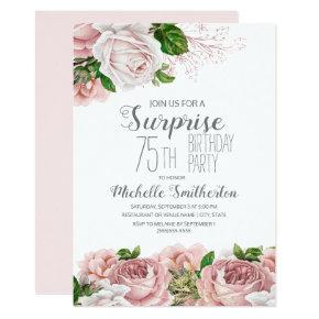 Blush Pink Floral Surprise 75th Birthday Women Invitation